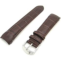 Rotary Style Dark Brown Luxury Crocodile Grain Leather Curved End Quality Generic Watch Strap Stainless Steel Buckle