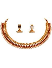 JFL - Traditional Ethnic One Gram Gold Plated Stones & Pearls Designer Necklace Set With Earring For Women & Girls.