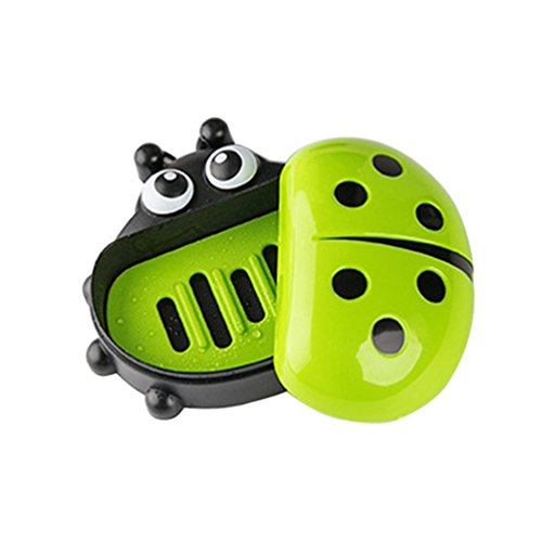 bismarckbeer Marienkäfer Form Seifenschale Halter Travel Bad Seife Behälter Spender, Polypropylen, grün, Einheitsgröße