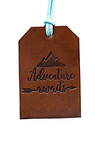 Leather Luggage Tag Adventure Awaits Rustic Bag Tag Gift for Traveler Travel Gear Stocking Filler, Christmas Gift for