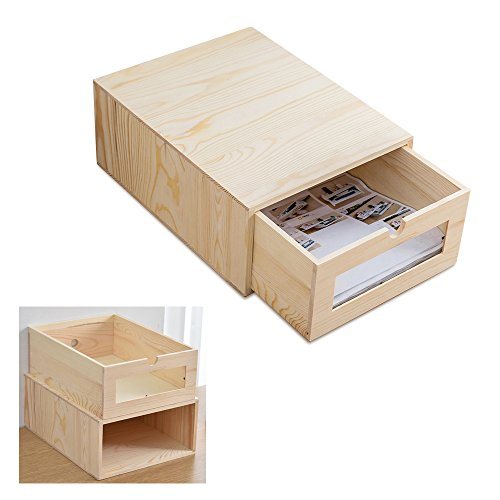 Holz Schreibtisch Organizer mit Pull Out Schubladen,BAFFECT Home Office A4 Archiv Aktenschrank Organizer Tidy Dual Zweck stapelbar Brief Racks A4 Papier Brief Tray - Pull-out Tray