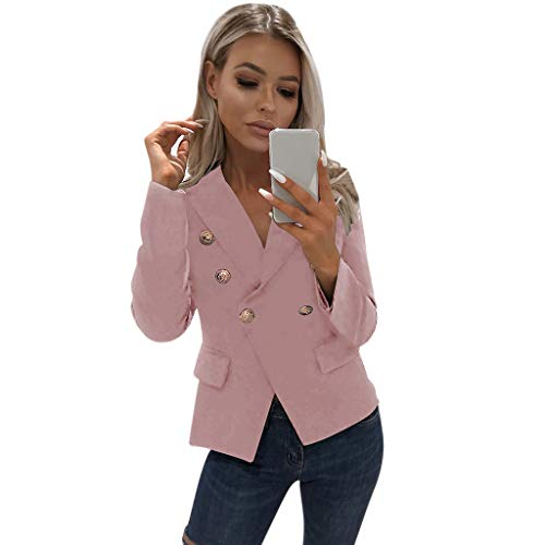 RISTHY Blazer Mangas Largas para Mujer Trajes Chaqueta Abrigo de Oficina Delgado Color Sólido Tallas...
