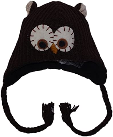 100% Wool Nepalese Hand Knitted Animal Hat - Regular Size (Cable Owl)