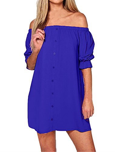 StyleDome Women's Sexy Summer Off Shoulder Party Beach Casual Loose Strapless Half Sleeve Long Tops Mini Dress Plus Size (UK 14, Blue)