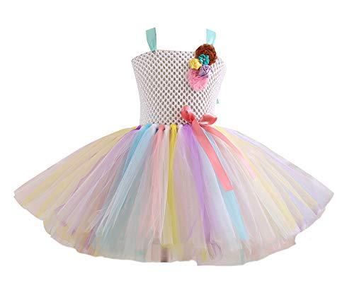 ASKEN Hochzeit Blumenmädchen Tutu Kleid Geburtstagsfeier Prinzessin Cosplay Karneval Pageant Ballkleid Light Yellow - Erwägungsgrund Kostüm