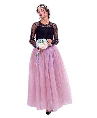 Honeystore Damen's Tüllrock Lang 5 Layer Prinzessin Kleider Lang Petticoat Ballettrock Maxi Unterrock Pettiskirt Lang One Size Rosa-02 (Tote Ballerina Halloween Kostüme)