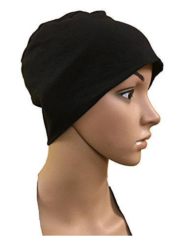 BLACK COTTON CAPS CHEMO BEANIES CANCER CAPS WOMEN SUMMER CHEMO CAPS SLEEP...