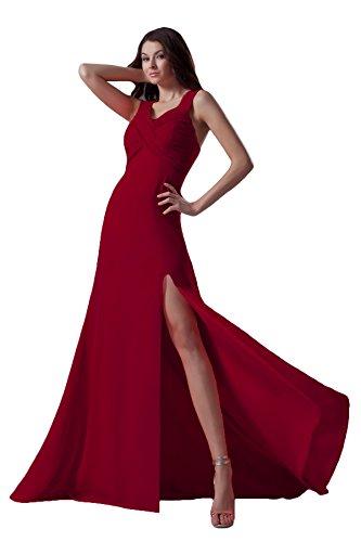 Bridal_Mall -  Vestito  - linea ad a - Senza maniche  - Donna Borgogna