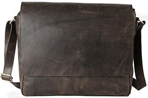 HOLZRICHTER Berlin - Premium Umhängetasche (M) aus Leder - Handgefertigte Messenger Bag im Vintage Design - Ledertasche für Herren und Damen - dunkelbraun (Messenger Kommen)