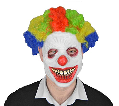 Scream machine maschera spaventosa da clown in lattice con parrucca, per halloween e cosplay