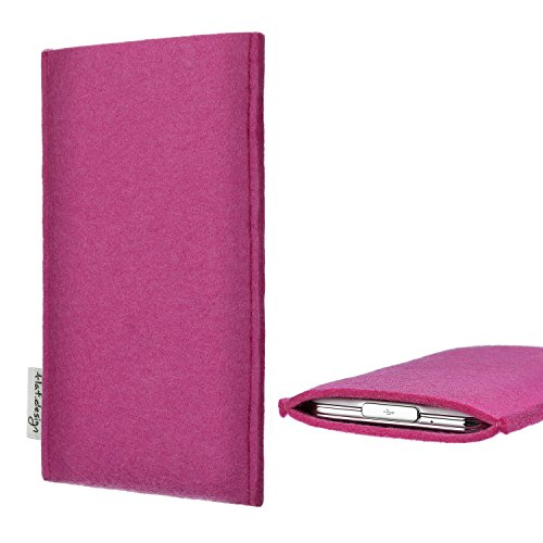 flat.design für Huawei P20 Pro Dual-SIM Handytasche Porto im Slim fit Design (pink) handgefertigte Smartphone-Tasche aus Filz für Huawei P20 Pro Dual-SIM Handy Schutz Hülle Made in Germany