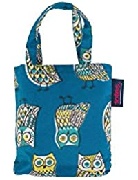 Totes Womens Turquoise Owl Print Folding Shopper Bag