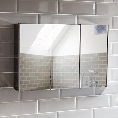 Badspiegelschrank mit 3 Türen aus Rostfreien Stahl, Aufbewahrung, Silber, mit magnetischem Schließmechanismus von Bath Vida
