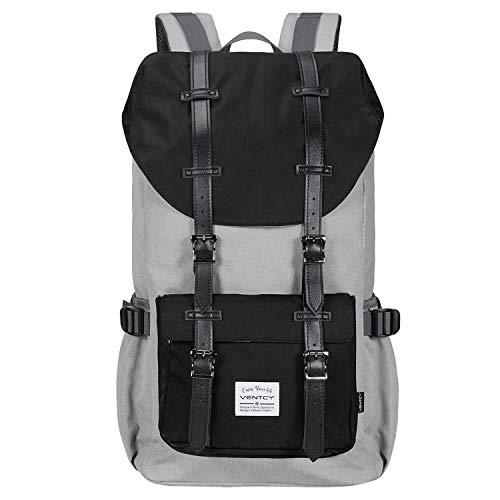 VENTCY Rucksack Damen Herren Backpack Studenten Uni Rucksack 15,6 Zoll Laptop Rucksack Notebook Groß Daypack Wasserabweisend (23L Schwarz&Grau Nylon)