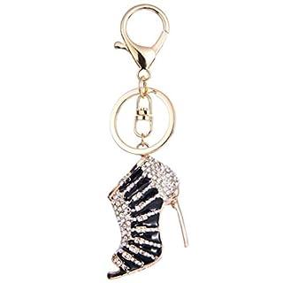 YAZILIND Schlüsselanhänger Ring Sexy High Heels eingelegten Strass Mädchen Handtasche Zubehör Anhänger Hängende Ornamente (schwarz)