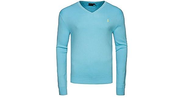 Ralph Lauren Herren Pullover V Neck hammond blue SALE Größe
