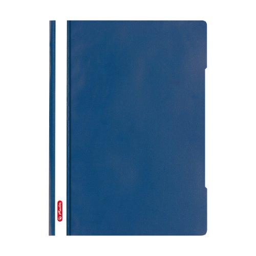 Herlitz 11317153 Schnellhefter A4 - Quality, Polypropylen-Folie, 10-er Packung, Glasklar mit Beschriftungsstreifen, blau