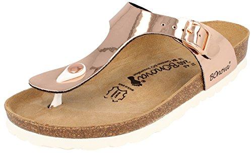 BONOVA Pantoletten Damen 37 Sandalen Ibiza Rosegold Mirror 37