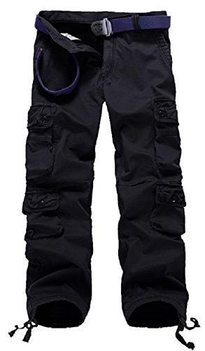 AYG Warm Velour Hose Herren Cargo Hose(black,36) (Velour Blau Hose)