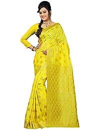 Indi Wardrobe Viscose Saree With Blouse Piece (Felebn218_Yellow_Free Size)