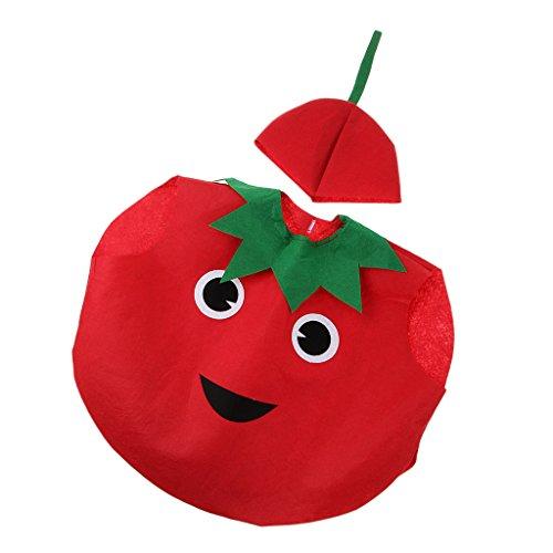 (Baoblaze Kinder Kostüm Verkleidung mit Kopfbedeckung für Karneval Fasching Halloween in verschiednenen Motiv - Tomate)