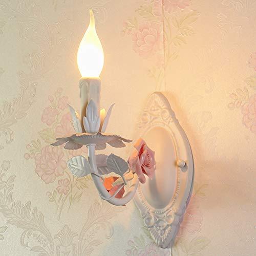 Klassische Kerzen Wandleuchte Stilvolle Florentiner Stil Blume weiß Rose Design Wandkerzenhalter für Wohnzimmer Schlafzimmer Esszimmer Restaurant Hotel,1flammigPink