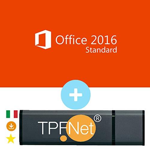 MS Office 2016 Standard 32 bit & 64 bit - Licenza Originale con una Chiavetta USB di TPFNet