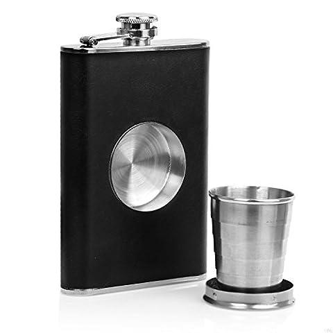 Bar Amigos® Hunter Drinking HIP FLASK Flasque en Acier Inoxydable Faux Cuir 8 oz & 1 Pliant Tasse With POP UP VERRE À SHOT Collapsible Cup Couvercle à
