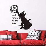 Wandaufkleber Katze freuen uns bis Datum 14. Februar Wandaufkleber für Wohnzimmer Liebhaber Dekoration für Valentinstag Poster Abziehbilder 58X66 cm
