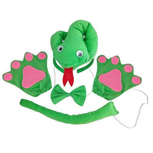 TOYANDONA 4 stücke Tierohren Stirnband Bowtie Schwanz Kostüm Zubehör Set Tier Fliege für Halloween Cosplay Party (3D Grüne Schlange) (Tier Kostüme Ein Stück)