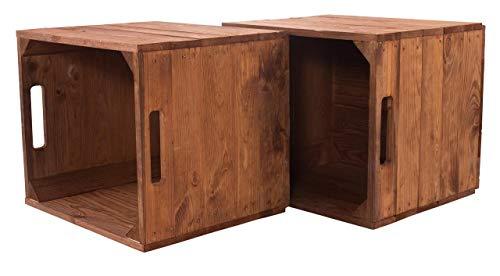 moooble Vinterior 2er Holzkiste Used für Kallax Regale 33cm x 37,5cm x 32,5cm IKEA Regalkiste rustikal Ikeaeinsatzkiste als Küchenregal Weinkiste unbehandelt Wandregal Badregal Obstkisten alt
