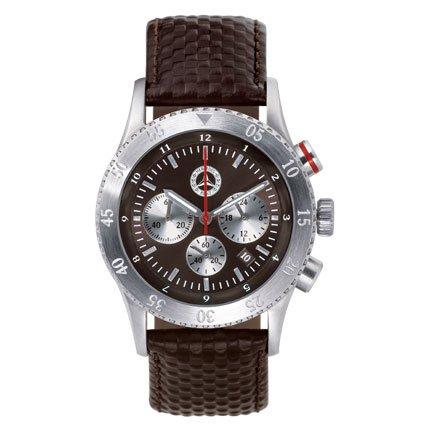 montre-bracelet-homme-argent-marron-acier-inoxydable