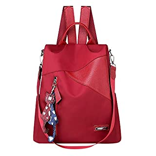 Women Ladies Solid Cat Pendant Messenger Handbag Totes Shoulder Backpacks Bags (Red)