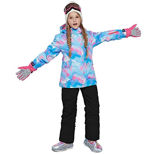 Peanutaod Trendy Jungen Mädchen Winter Snowboard Skifahren Parka Jacke Schneelatz Schneeanzug Set Schneeanzug Kapuzen Skijacke + Hose 2er Set (Mädchen, Lange In Der Rückseite Jacken)