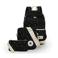 مجموعة من ثلاث قطع حقيبة كتف عصرية حقيبة مدرسية صغيرة Sb06 أسود للجنسين