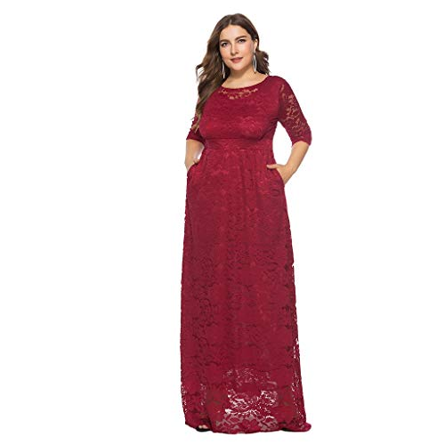 WWricotta Women Solid Oversize Vintage Floral Lace Plus Size Cocktail Formal Swing Dress(rot,XL)
