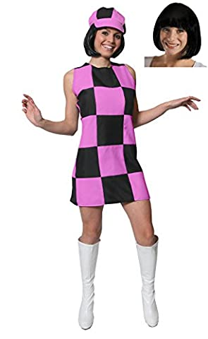 WOMENS CHECKERED PINK AND BLACK 60'S PARTY GIRL DRESS WITH MATCHING HAT AND BLACK BOB WIG (XX-LARGE)