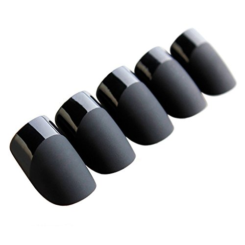 Art bling faux ongles manucure française noir mat Medium Conseils UK