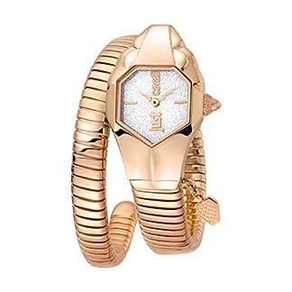 Just Cavalli jc1l001m0155JC ADN de la Mujer Dial de Plata Brillante con Oro Rosa Banda de Acero Inoxidable Reloj.