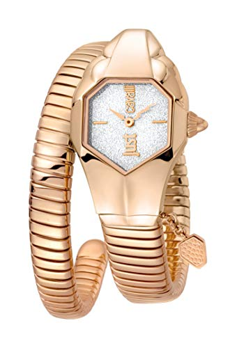 Just Cavalli- JC1L001M0155 JC DNA Montre pour Femme avec Cadran argenté à Paillettes et Bracelet en Acier Inoxydable Or Rose.