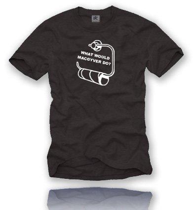 MAC GYVER. T-Shirt Größe XL - Schwarz/Weiss