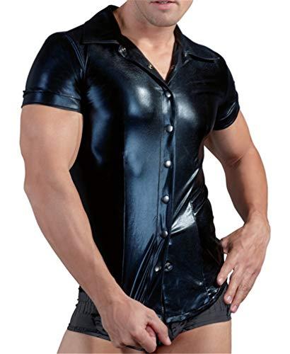 YouYaYaZ Herren PVC Faux Gummi Overall Bodysuit Wetlook Unterwäsche Kleidung PU Bar Bühne Leistung(Schwarz,3XL)