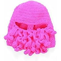 FOUGNOGKISSS Moda Hombres Mujeres Hechas a mano de doble línea Hilo de tejer Sombrero de pulpo Beard Cap Pink