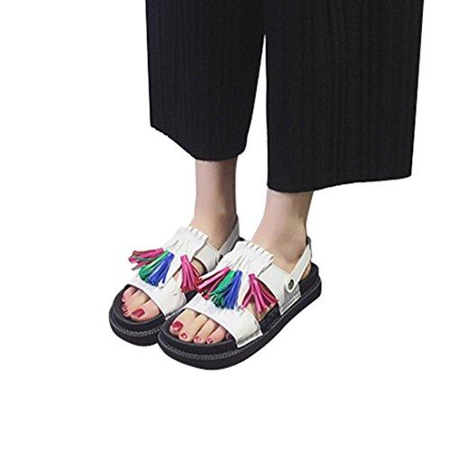 Webla Frauen-Troddel-Sandelholze beiläufige Schuhe lederne flache Peep-Zehe-Kursteilnehmer-Schuhe Thong Sandalen Sommer Schuhe Strand Flip Flop Hausschuhe Weiß