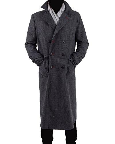 Yeweiwenhua Herren Detektiv Umhang Cosplay Kostüm - Wollmischung (Grau, ()