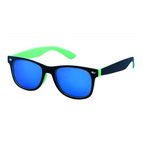 Chic-Net Sonnenbrille Wayfarer Nerdbrille verspiegelt 400UV außen schwarz innen farbig türkis