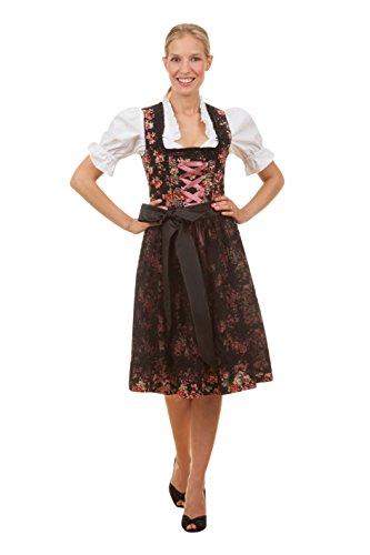 Edles Midi Dirndl 3-tlg. exclusive Estefania inkl. passender Bluse und Schürze rot, blau oder schwarz Gr. 34-50, Schwarz, 48