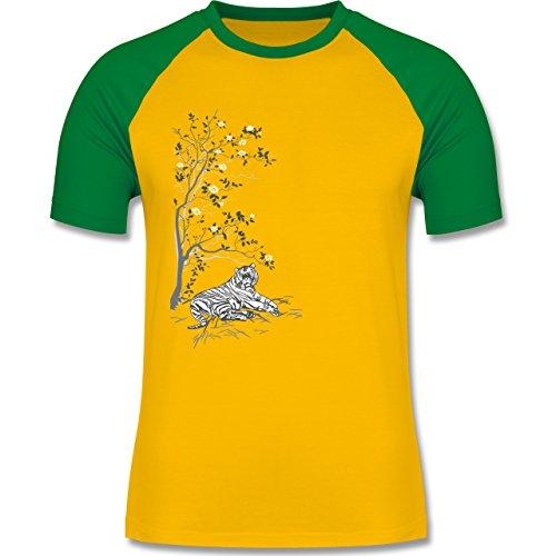 Vintage - Tiger Kirschblüten Baum - zweifarbiges Baseballshirt für Männer Gelb/Grün