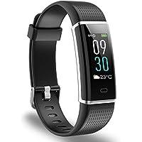 Reloj deportivo, Ausun 130 Plus Pulsera Inteligente Pantalla Color Monitores de actividad con Pulsómetros Reloj Inteligente Pulsera Actividad Brillo de la Pantalla Ajustable Impermeable IP68 con 14 Modos de Ejercicio Monitor para iOS y Android, Negro