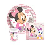 ★RM★ Kindergeburtstags Party Einweggeschirr Babyshower Party Set Disney Mickey Mouse Minnie Baby Version Pappbecher Pappteller Servietten Set für 8-Personen 36-teilig Motto Party P167 ★RM★